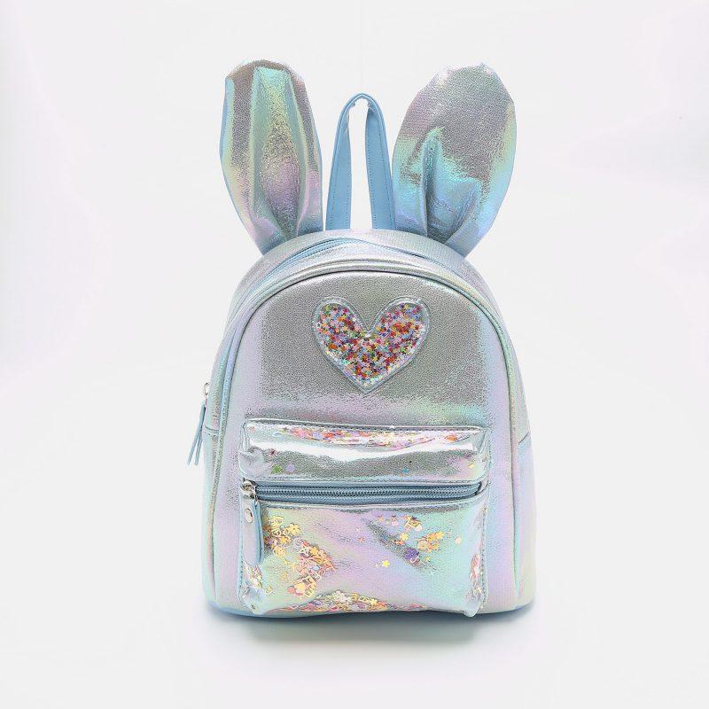 תיק ילדים מנצנץ ארנב עם לב